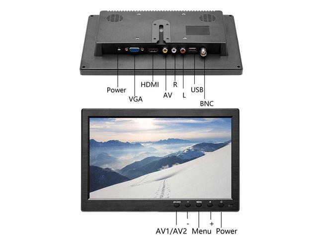 """10.1/"""" HD Monitor for Mini TV /& Car Video Player /& Computer Display TFT LCD Color Screen for Car Backup Camera /& Home Security System Built in Speaker Support BNC//AVI//VGA//HDMI podofo K0202US"""