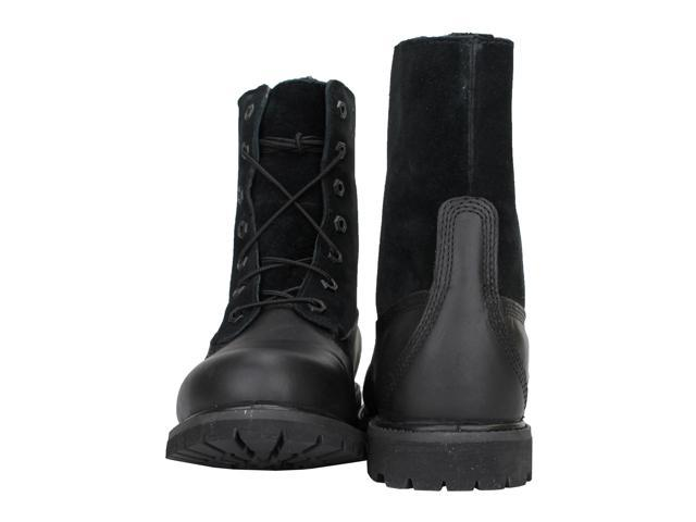 Details about Timberland Authentics Teddy Fleece Fold Down Black Leather Women's Boots 8661A