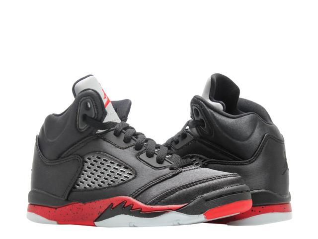 sale retailer 28859 d259e Nike Jordan 5 Retro (PS) Satin Black/Red Little Kids Basketball Shoe  440889-006 Size 2.5 - Newegg.com