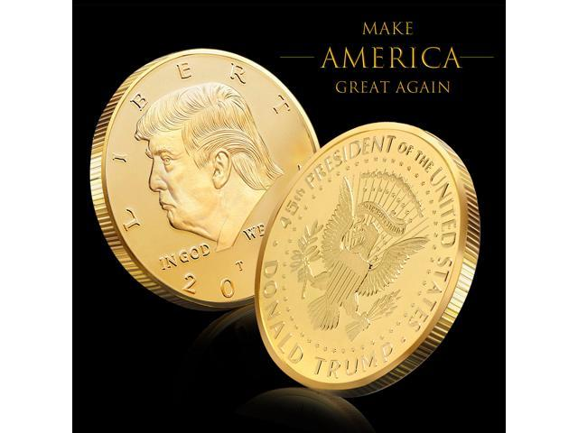 6 PACK The Official 2018 Gold Donald Trump Commemorative Coin - Authentic  24k Gold Collectible Coin of 45th United States President - Republican
