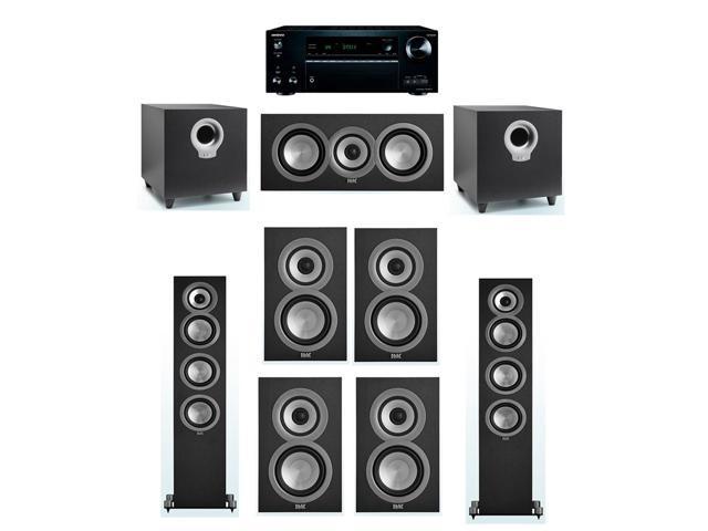 ELAC Uni-Fi 7 2 System with 2 UF5 Floorstanding Speakers, 1 UC5 Center  Speaker, 4 UB5 Speaker, 2 ELAC Debut S10 Powered Subwoofer, 1 Onkyo  TX-NR777