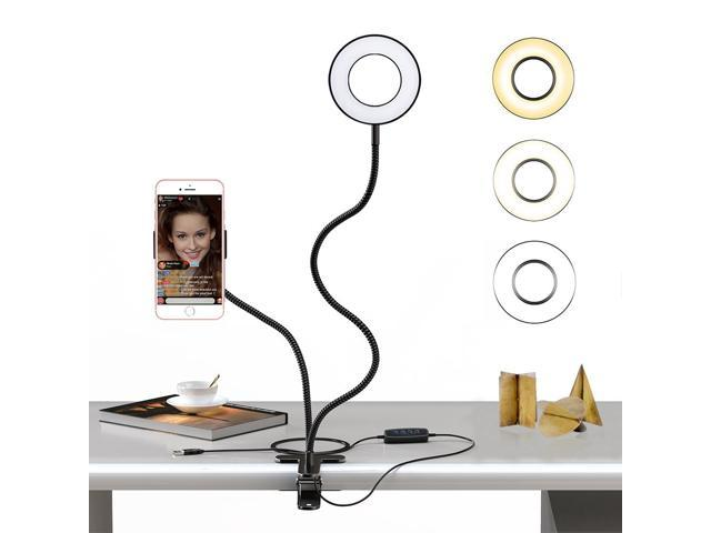 Selfie Ring Light with Cell Phone Holder Stand for Live Stream / Makeup,  Clip Lazy Bracket for iPhone / Android, [3-Light Mode] [10-Level  Brightness]