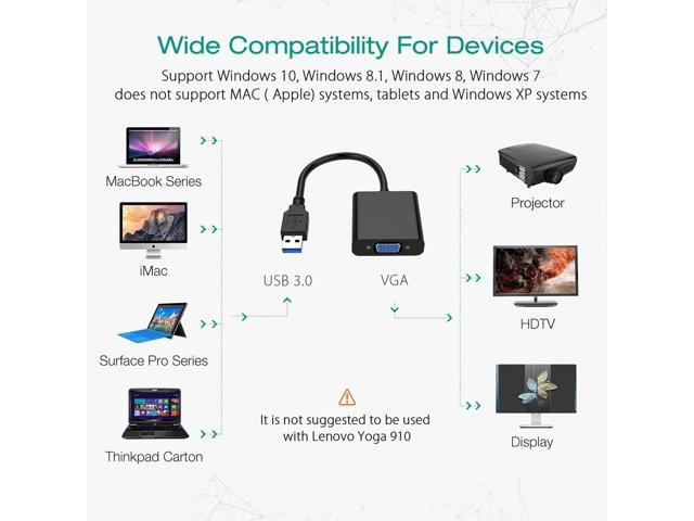 8.1//10 for Computer,Desktop,Laptop PC,Monitor,Projector,HDTV USB to VGA Adapter,USB 3.0 to VGA Video Graphic Card 1080P Display External Cable Adapter Compatible with Windows 7//8