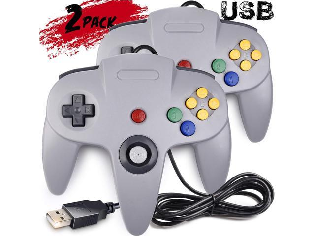 2 Pack Classic N64 Controller Werleo N64 Wired USB PC Game pad Joystick,  N64 Bit USB Wired Game stick Joy pad Controller for Windows PC MAC Linux