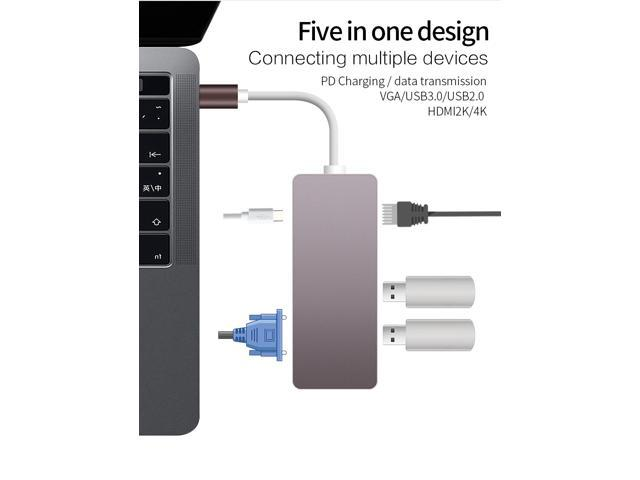 CableDeconn USB-C Thunderbolt 3 Hub usb3 1 Type C to HDMI 4K VGA 1080P  SB3 0 USB2 0 USB C PD 5in1 Docking Adapter for Macbook Pro 2017 2016 -
