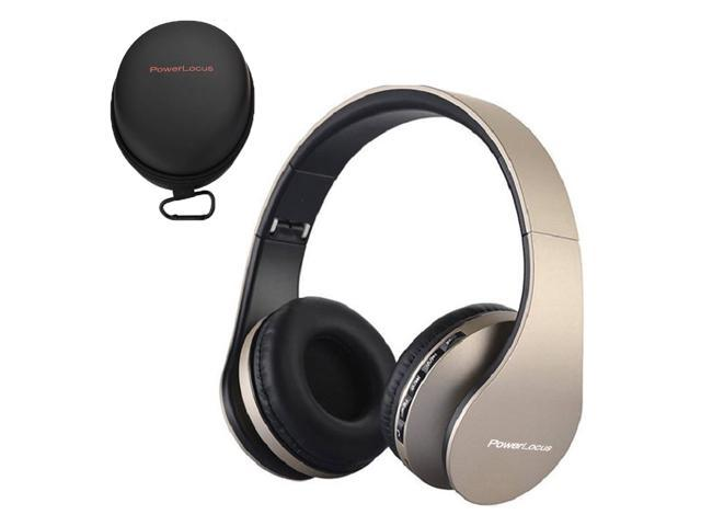 PowerLocus Bluetooth Over Ear Headphones - Foldable FM, Micro SD/TF,  Auxiliary Mode, Built-in Mic - iPhone, iPad, Android, PC, & Mac - Gold -