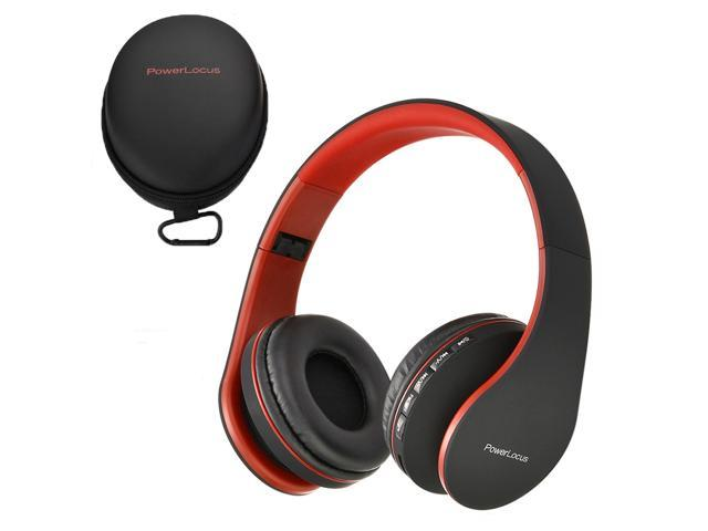 Powerlocus Bluetooth Over Ear Wireless Headphones Foldable Fm Micro Sd Tf Aux Mode Built In Mic For Iphone Ipad Android Pc Mac Black Red Newegg Com