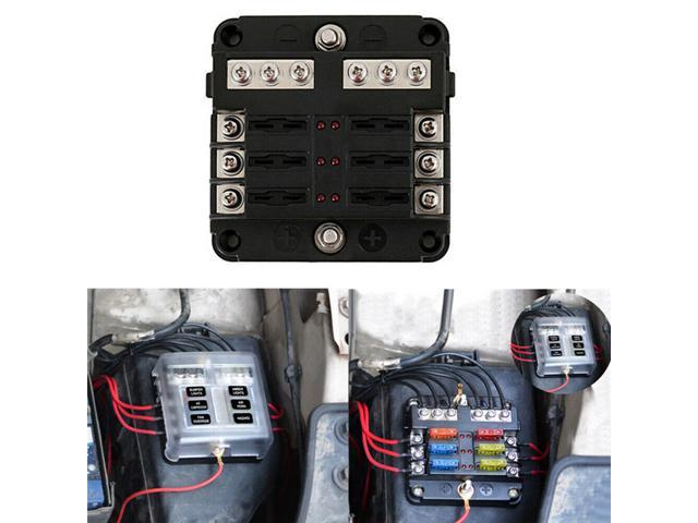 blade fuse box 6 way blade fuse block with atc ato fuse box holder led warning  atc ato fuse box holder led warning