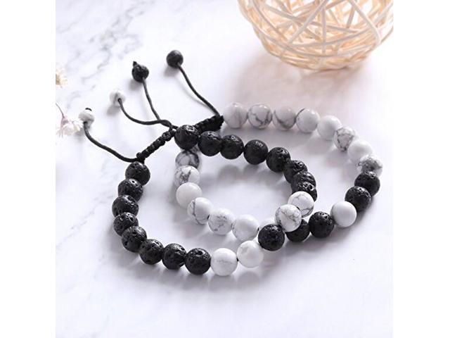 7c4a0f42e5baa JOYA GIFT Distance Bracelet Couples Adjustable Beaded Bracelet with  Howlite, Lava Stone Friendship Relationship His-and-Hers Essential oil  diffuser ...