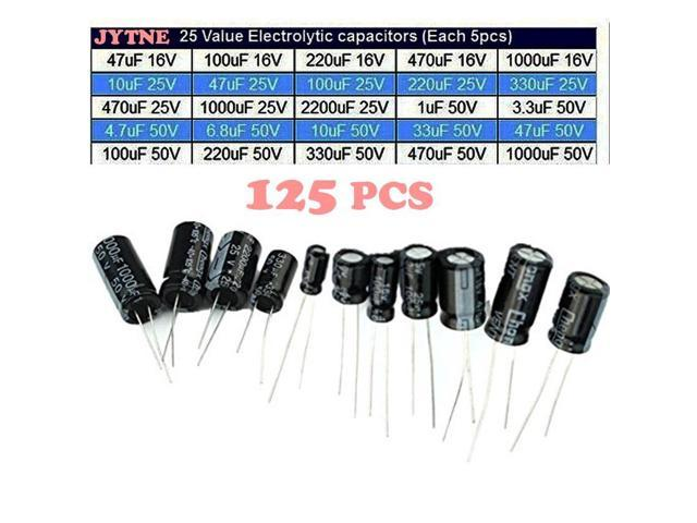 120pcs 50V 15 Values 1uF 2200uF Electrolytic Capacitor Assortment Tool Set