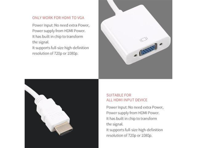 White Built in Chip to Transform the Signal HDMI Male to VGA Female Video  Cable Cord Converter Adapter 1080P for All HDMI Input Device - Newegg ca