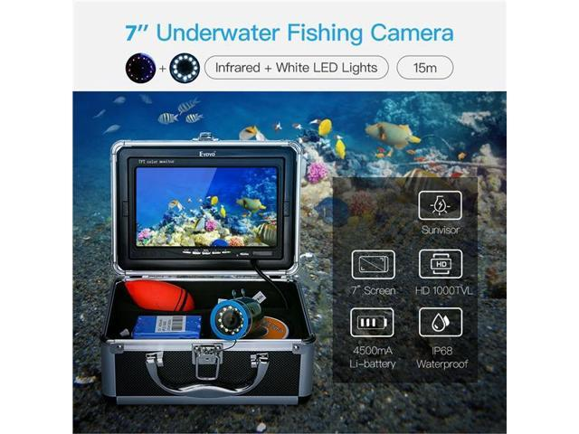 """EYOYO 7/"""" LCD Display Fish Finder 12 LED Underwater 15M Camera With Light Control"""