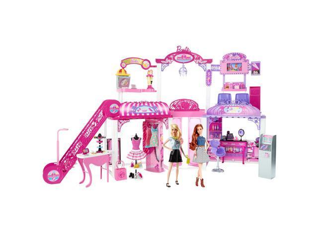 Barbie Malibu Ave 2-Story Mall with 2 Dolls (50+ Pieces, 2' Tall, 4' Wide)  - Newegg com