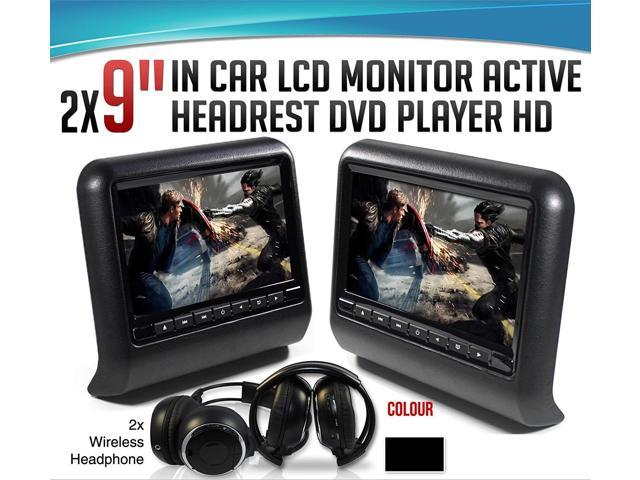 Dual Black Pair Universal Mount 9 Active Headrest Dvd Player Monitors Dual Channel Wireless Headphones Wireless Game Controllers And Cds Cigarette Power Adapters Newegg Com