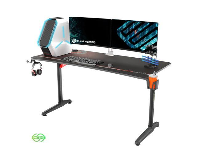 Eureka Ergonomic Gaming Desk 60 Home Office Computer Desk New Polygon Legs Design Captain Series Black Newegg Com
