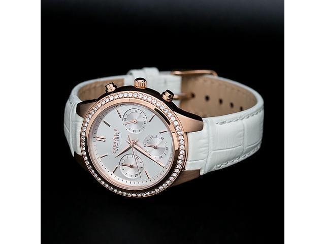 Women's York 44l214 Caravelle Gold Tone Bezel Rose New Watch Chronograph Crystal f7yb6Yg