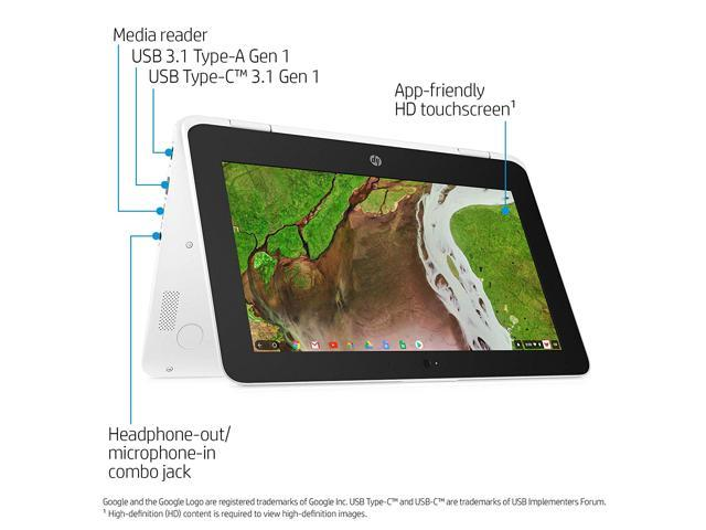HP Chromebook x360 2-in-1 11-inch Touchscreen Laptop with 360-degree Hinge|  Intel Celeron N3350 Processor| 4 GB RAM| 32 GB eMMC Storage|SD Card