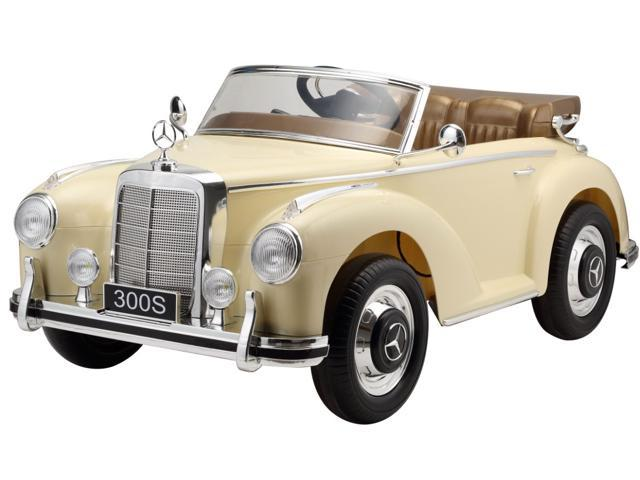 Electric Car Mercedes Benz 300s 12v Ride On Car For Kids With Mp3 And Remote Control Beige Newegg Com