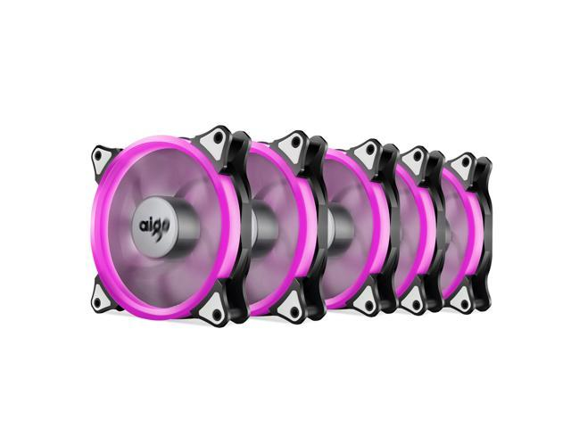 Pack of 3 Aigo 120mm 12cm Halo Ring Neon PINK LED Computer PC Case Cooling Fan