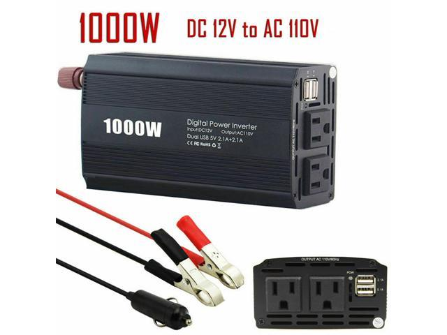 Car Power Inverter 1000W 2000W Peak Power DC 12V To AC 110V RV Solar  Converter - Newegg com