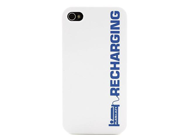plain lazy case for iphone 4  4s - recharging white