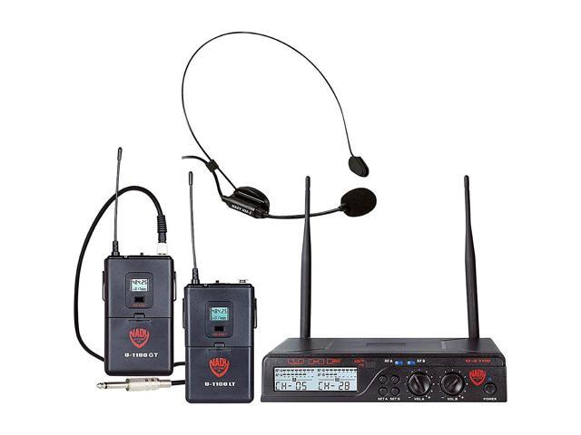 Nady U-2100 Dual Combo HM-GT 200-Channel UHF Wireless Headset Microphone  and Instrument/Guitar System - Newegg com