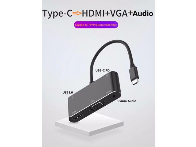 5-in-1 USB-C to 4K HDMI VGA 3 5mm Audio UHD Video Converter with USB3 0 and  USB-C PD Charging for MacBook, ChromeBook and Samsung S8/S8+/S9/S9+/S10  -