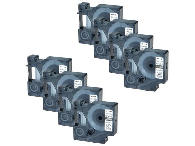 """5PK 18488 Black on White Flexible Nylon Industrial Tape for Dymo Rhino 1//2/"""""""