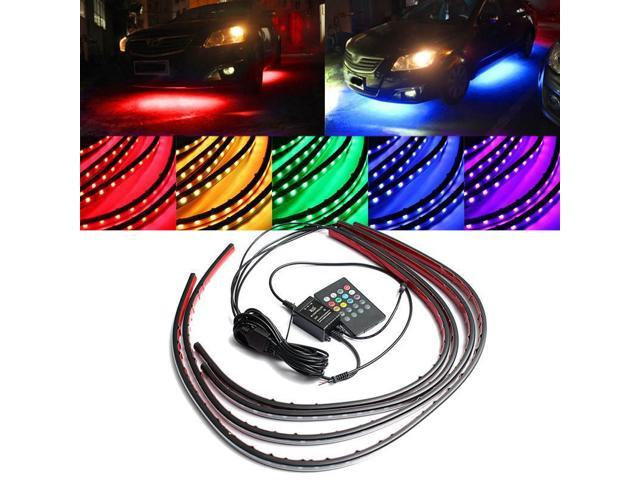Car Headlight Bulbs(led) 4x Waterproof Rgb Smd Flexible Led Strip Under Car Tube Underglow Underbody System Neon Light Kit With Remote Control Dc12v Car Lights