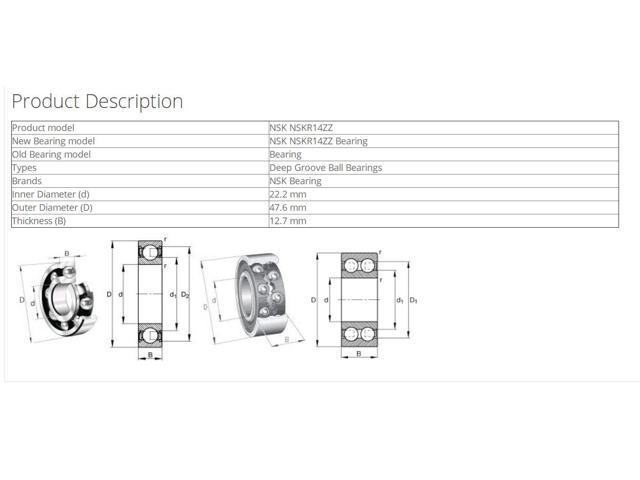 NSK MF126ZZ Deep Groove Ball Bearings 6x12x3mm