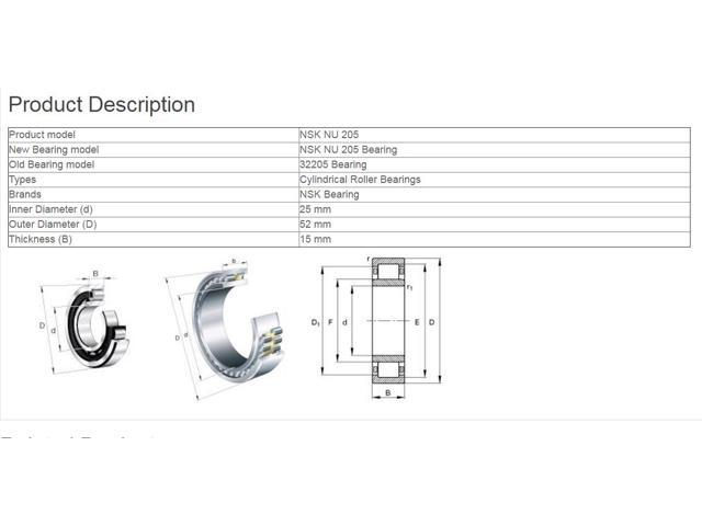 NSK NU 205 EM Cylindrical Roller Bearings 25x52x15mm
