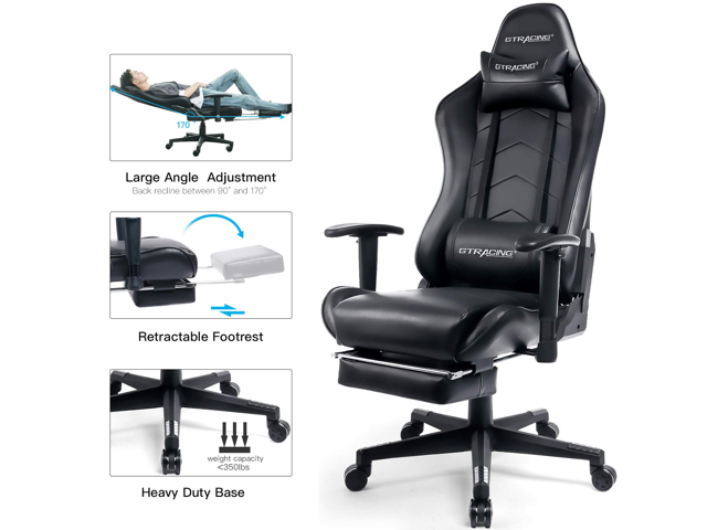 Gtracing Big And Tall Gaming Chair With Footrest Heavy Duty Adjustable Recliner With Headrest Lumbar Support Pillow High Back Ergonomic Leather Racing