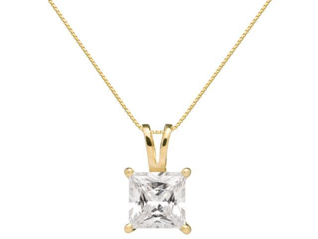 With Gift Box 16 Inch .60mm Box Link Chain Round Cut Cubic Zirconia Solitaire 14K Solid White Gold Pendant Necklace 1.5 Carat