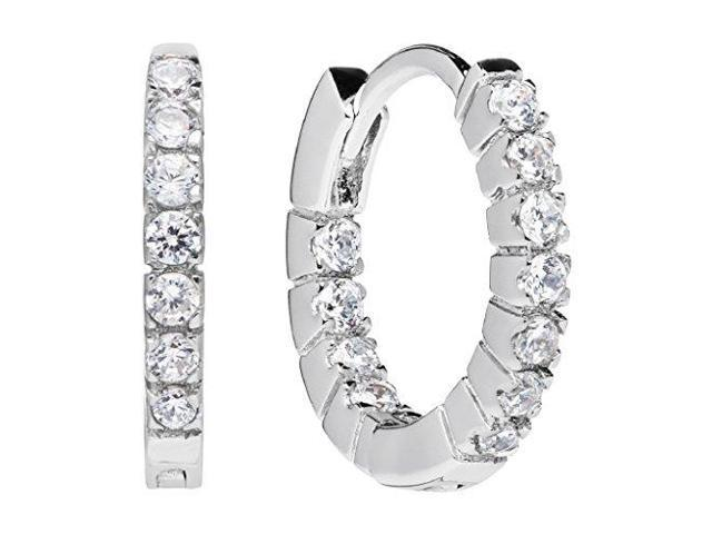 14k Solid White Gold Round Cut Huggie Hoop Cubic Zirconia Earrings 12mm 20 Ctw Diamond Equivalent Gift Box
