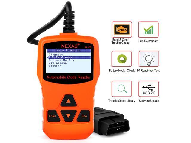 NEXAS NL100 Auto Scan Tool OBD II, CAN & LIVE DATA  Works on all 1996 to  2017 OBD2 compliant USA, European & Asian vehicles for your Engine Light -