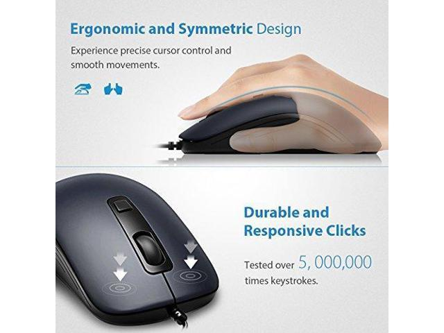 VicTsing 4-Button Wired USB Optical Mouse with 5ft Cord, Computer Mouse  with 3 Adjustable DPI Level (1000/1600/2000), Compatible with PC, Mac,  Desktop