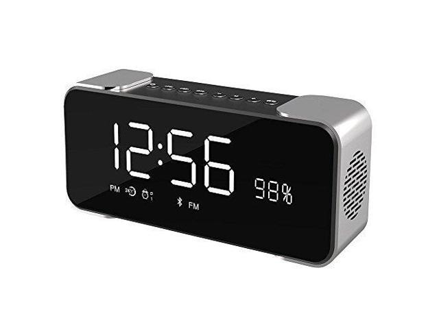 VIGROS Bluetooth Speakers Portable Wireless Stereo Hi-Fi Speaker with Alarm  Clock Built-in Mic FM Radio LED Light and Hands-free HD Bass and Sound for