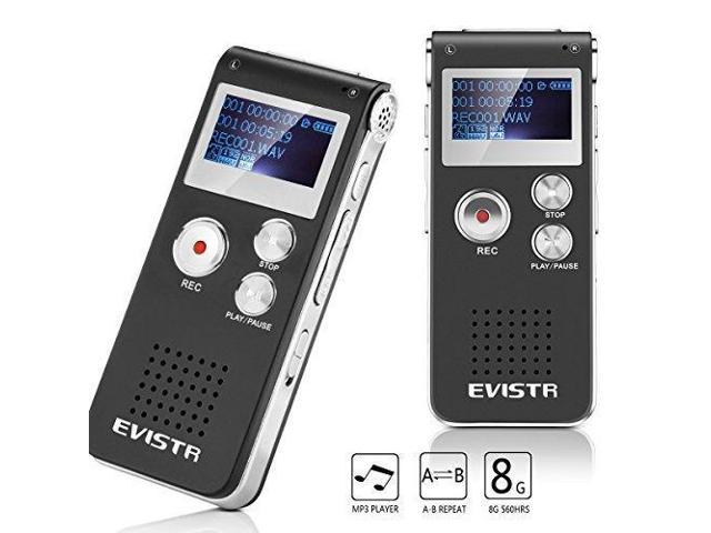 EVISTR Digital Voice Recorder L169 - 8GB / 560Hrs Capacity Digital Audio Recorder Dictaphone, Voice Activated Recorder with MP3 Player, Built-in Speaker
