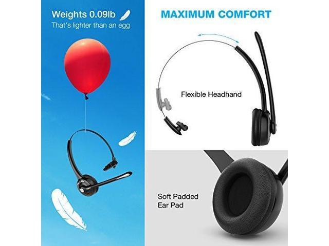 Bluetooth Headset / Cell Phone Headset with Microphone , Wireless Office  Headset, Portable, Suitable for Men, Women, VOIP, Skype, Call Centers,