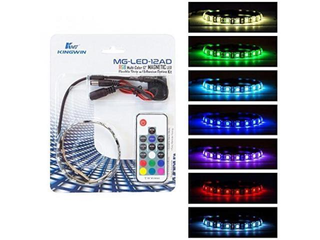 Kingwin RGB LED Strip Lights, LED Light Strip Magnetic Kit w/ Adhesive  Option For Computer Case, PC, Laptop, and Background Lighting  5050 SMD  Strip