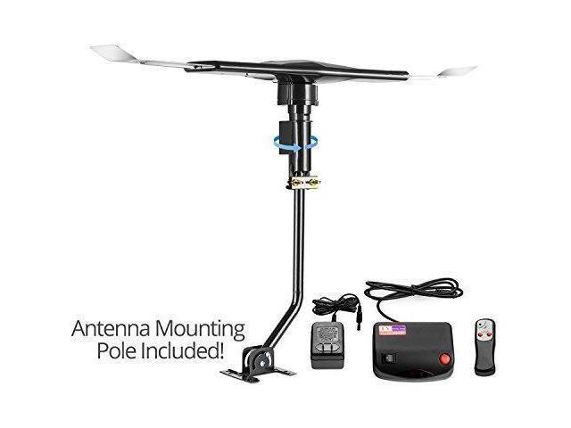 ViewTV 120 Mile Range Outdoor / Attic Amplified Antenna - 120 Miles Range -  360° Rotation - Wireless Remote and Mounting Pole Included - 120 Miles