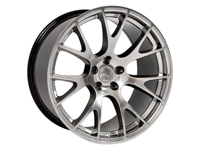 OE Wheels 20 Inch Fit Dodge Challenger Charger SRT8 Magnum Chrysler 300 SRT8 DG15 Hellcat Style Black 20x9 Rims Hollander 2528 Ironman iMove Gen2 Tires and TPMS SET