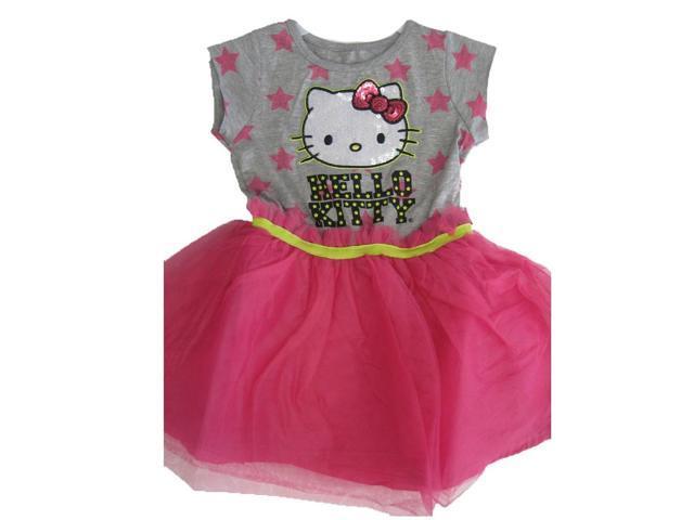 Hello kitty little girls gray pink star print sequin applique dress 5