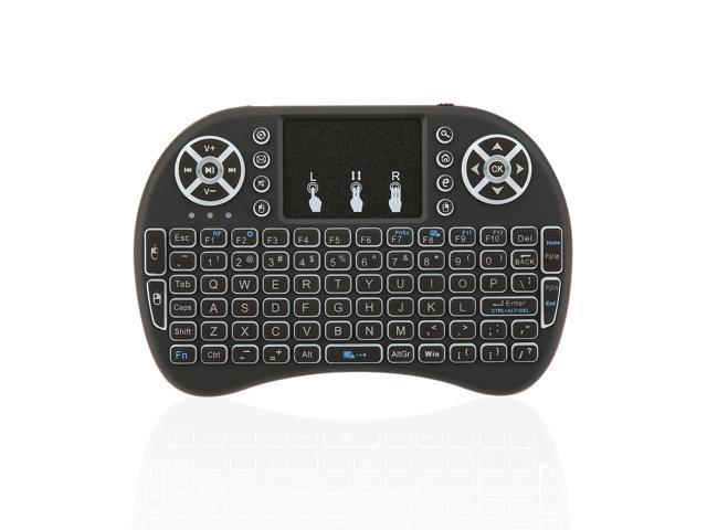 2 4GHz Mini Wireless Remote Keyboard with Touchpad Mouse for Android TV Box  3 Color LED Backlight Rechargable Li-ion Battery - Newegg com
