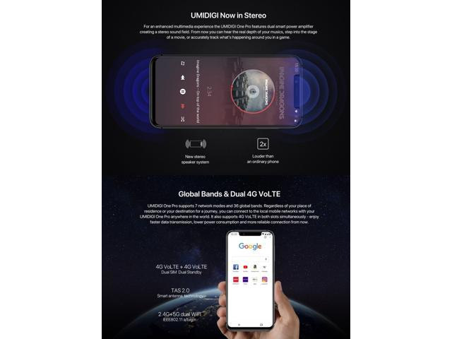 UMIDIGI One Pro, 4GB+64GB Global Band Dual 4G Dual Back Cameras, Face ID &  Side Fingerprint Identification, 5 9 inch Android 8 1 MTK Helio P23 Octa