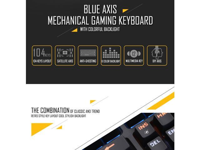 Computer Keyboards Computer Peripherals Apedra MK-X70 USB Interface 104 Keys Wired Colorful Backlight Blue Axis Mechanical Gaming Keyboard for Computer PC Laptop Black Color : Black