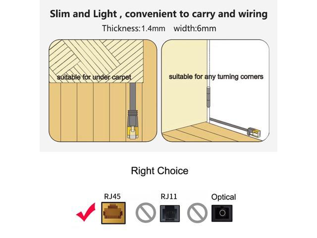 Patch Lead RJ45 Color : Blue Orange HEGGW 8m CAT6 Ultra-Thin Flat Ethernet Network LAN Cable