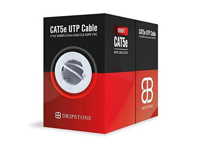 DRIPSTONE 1000ft Cat5e Ethernet LAN Cable 24AWG Network Wire 350MHZ RJ45 Black