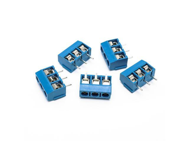 100PCS Terminal Connectors 3 Pin Plug-in Screw Terminal Block Connector  5 08mm Pitch blue iron KF 301-3P - Newegg com