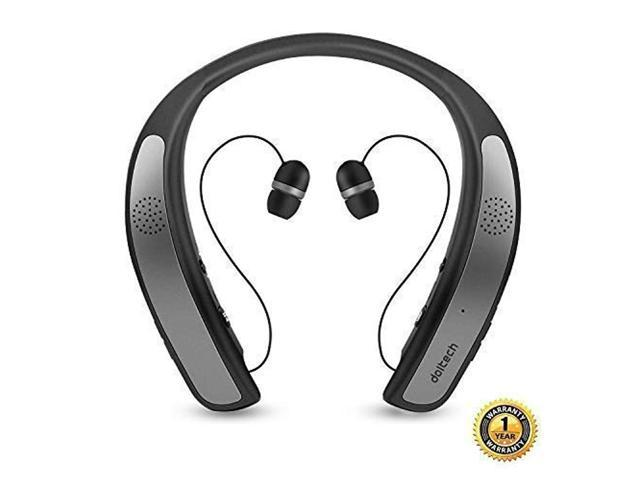 91b4d67cdfa Bluetooth Headphones Speaker 2 in 1,DolTech Wireless Headphones Neckband  Wearable Speaker Retractable Earbuds 3D